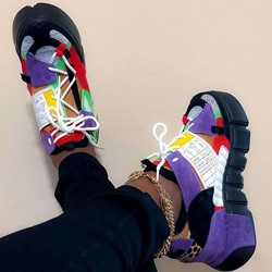 Shoespie Trendy Round Toe Lace-Up Platform Patchwork Sneakers