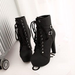 Shoespie Trendy Lace-Up Front Plain Round Toe Buckle Boots