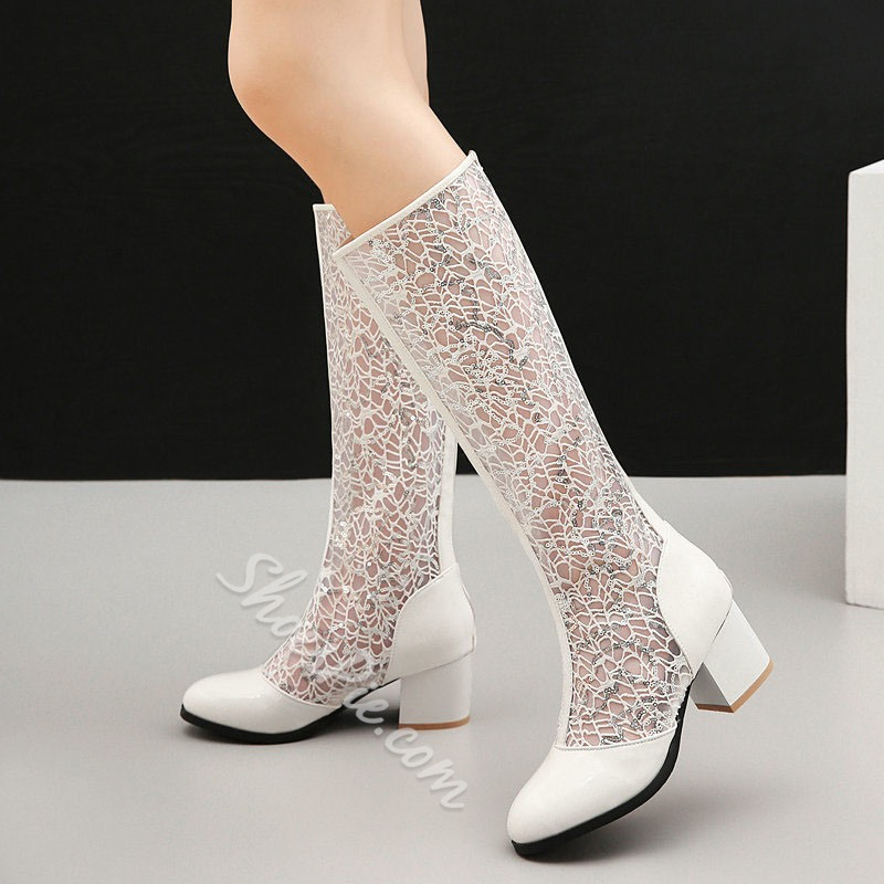 Shoespie Trendy Plain Round Toe Chunky Heel Hollow Boots