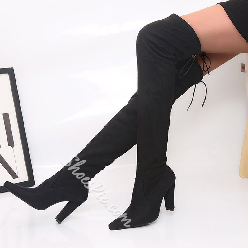 Shoespie Sexy Pointed Toe Lace-Up Back Plain Thread Boots