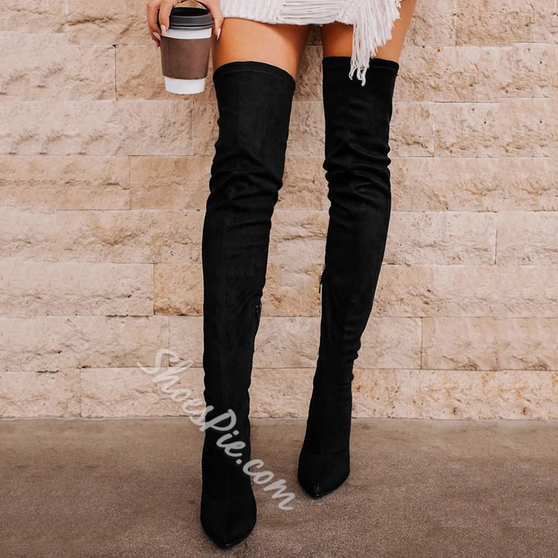 Shoespie Stylish Plain Side Zipper Pointed Toe Western Boots