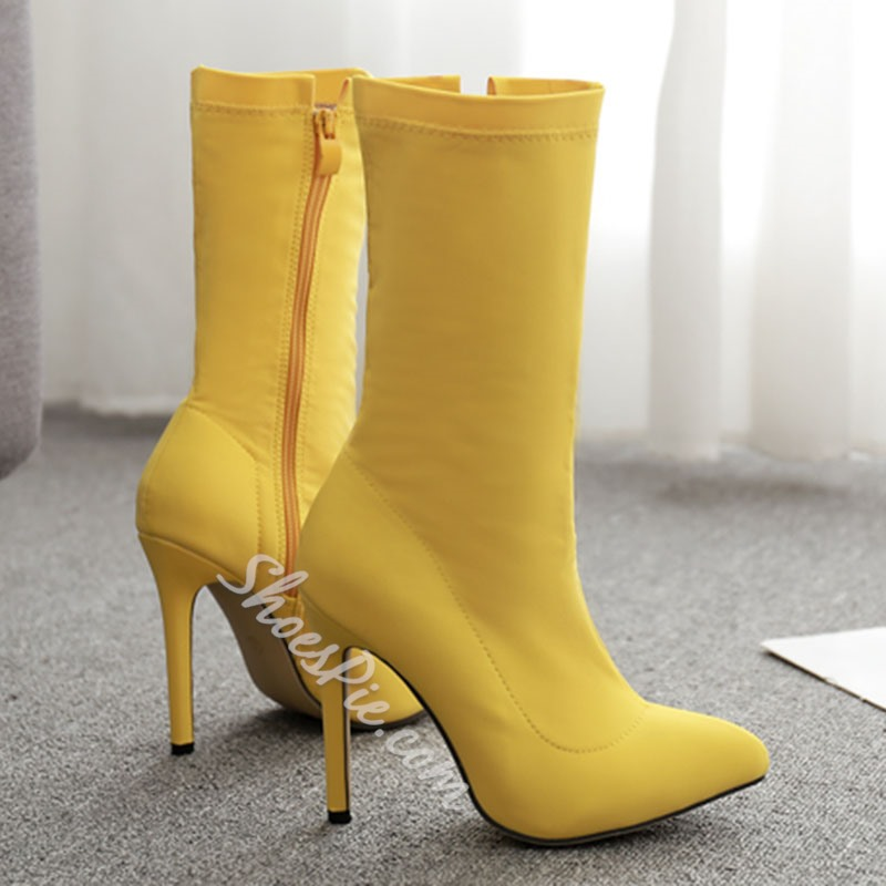 Shoespie Sexy Plain Stiletto Heel Pointed Toe PU Boots