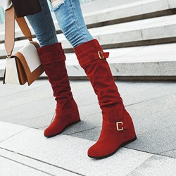 Shoespie Trendy Slip-On Hidden Elevator Heel Round Toe PU Boots