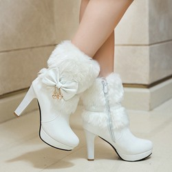 Shoespie Stylish Chunky Heel Round Toe Plain Casual Boots