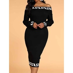 Off Shoulder Long Sleeve Mid-Calf Pullover Women's Dress
