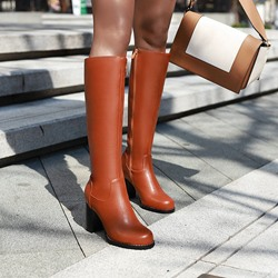 Shoespie Sexy Side Zipper Plain Chunky Heel Thread Boots