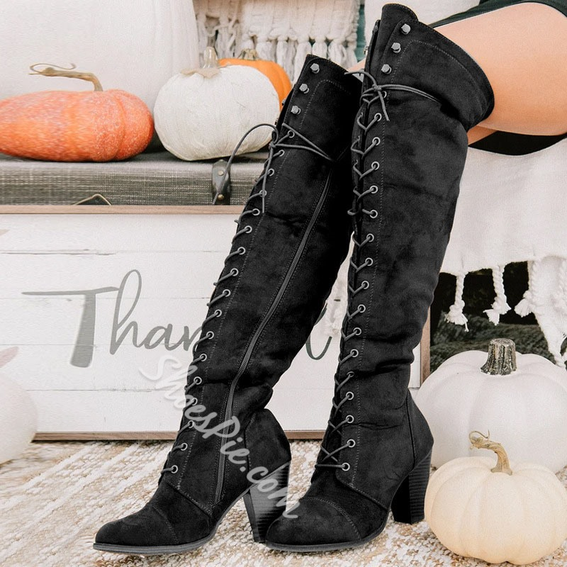 Shoespie Stylish Side Zipper Round Toe Chunky Heel Cross Strap Boots