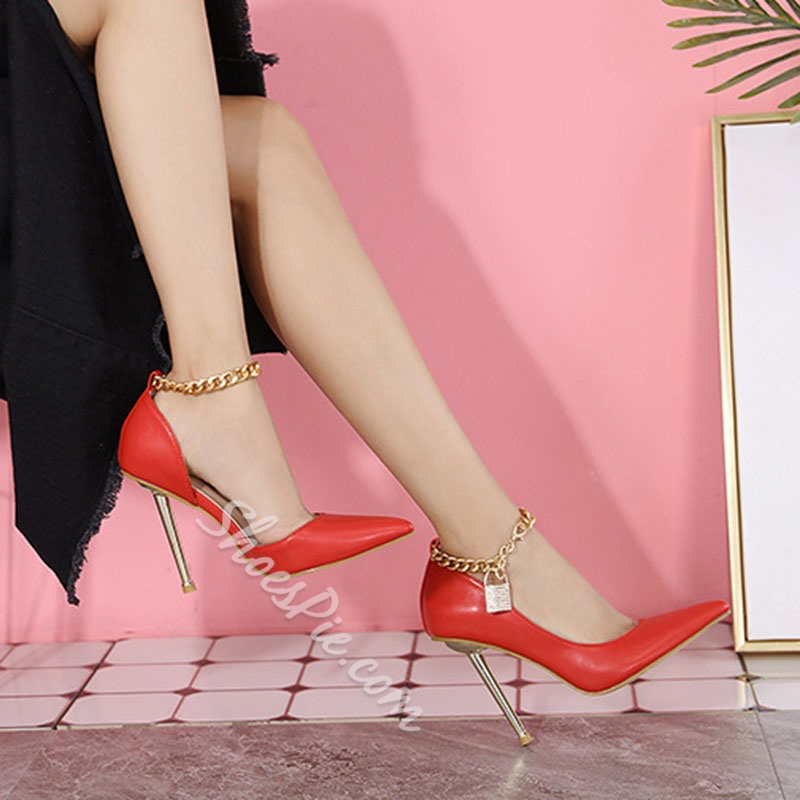 Shoespie Sexy Pointed Toe Stiletto Heel Buckle Banquet Thin Shoes