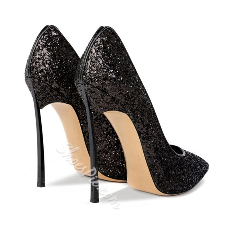 Shoespie Sexy Slip-On Pointed Toe Sequin Low-Cut Upper Thin Shoes