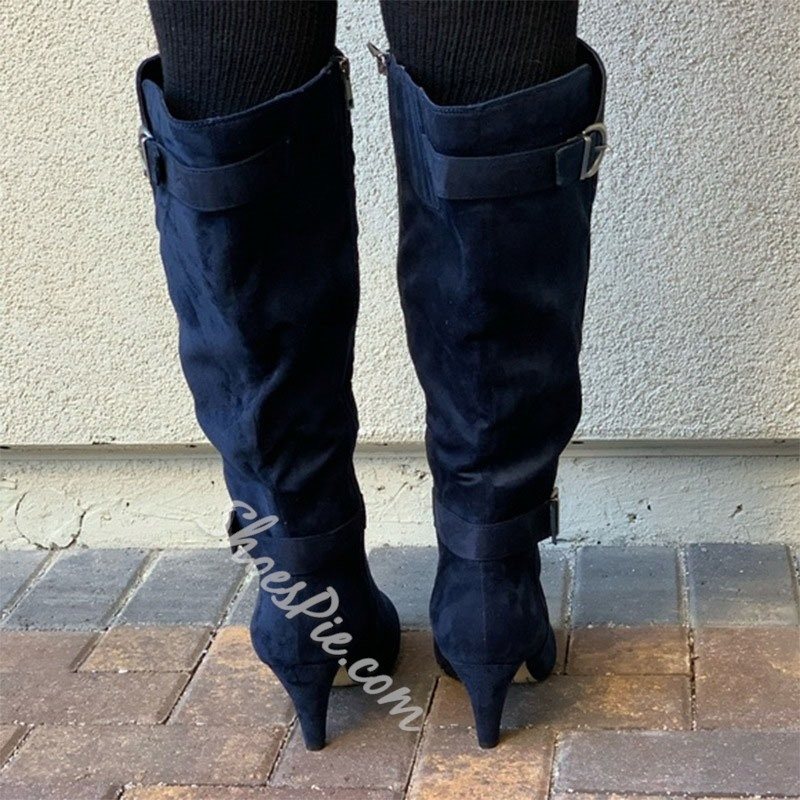 Shoespie Stylish Side Zipper Pointed Toe Plain Buckle Boots