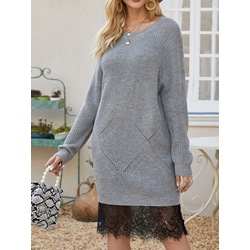Round Neck Patchwork Long Sleeve Pullover Women's Dress