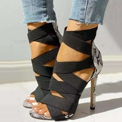 Shoespie Trendy Stiletto Heel Zipper Peep Toe Casual Sandals