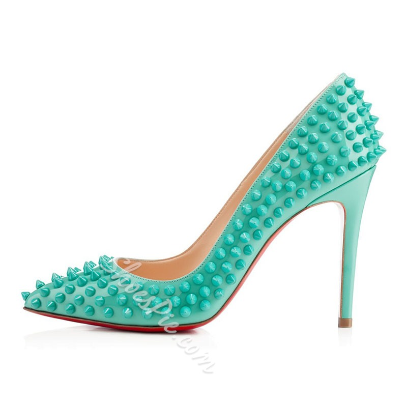 Shoespie Stylish Stiletto Heel Rivet Pointed Toe Low-Cut Upper Thin Shoes