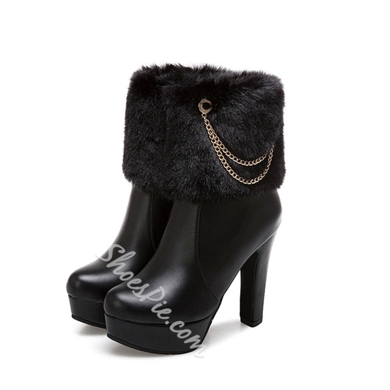 Shoespie Stylish Plain Side Zipper Round Toe Chain Boots