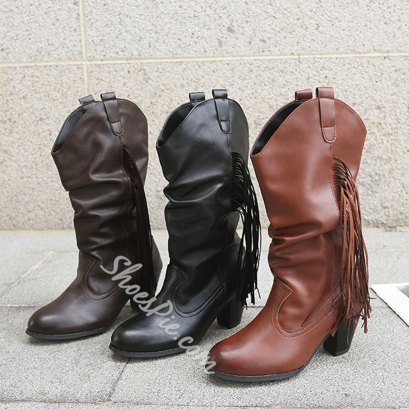Shoespie Trendy Round Toe Chunky Heel Slip-On Western Boots