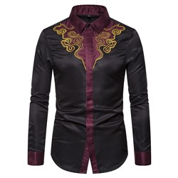 Embroidery Lapel Casual Fall Single-Breasted Shirt