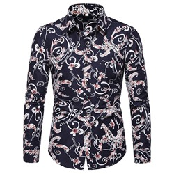 Floral Button Korean Slim Fall Shirt