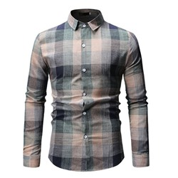 Lapel Casual Plaid Spring Slim Shirt