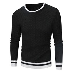 Standard Round Neck Patchwork Winter Casual Sweater