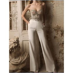 Full Length Elegant Sequins Wide Legs Women's Jumpsuit