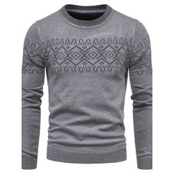Standard Print Round Neck European Slim Sweater