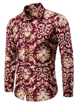 Floral European Lapel Slim Single-Breasted Shirt