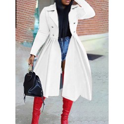 Double-Breasted Lapel Long Regular Women's Trench Coat