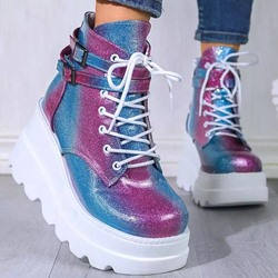 Shoespie Sexy Round Toe Plain Lace-Up Front Casual Boots