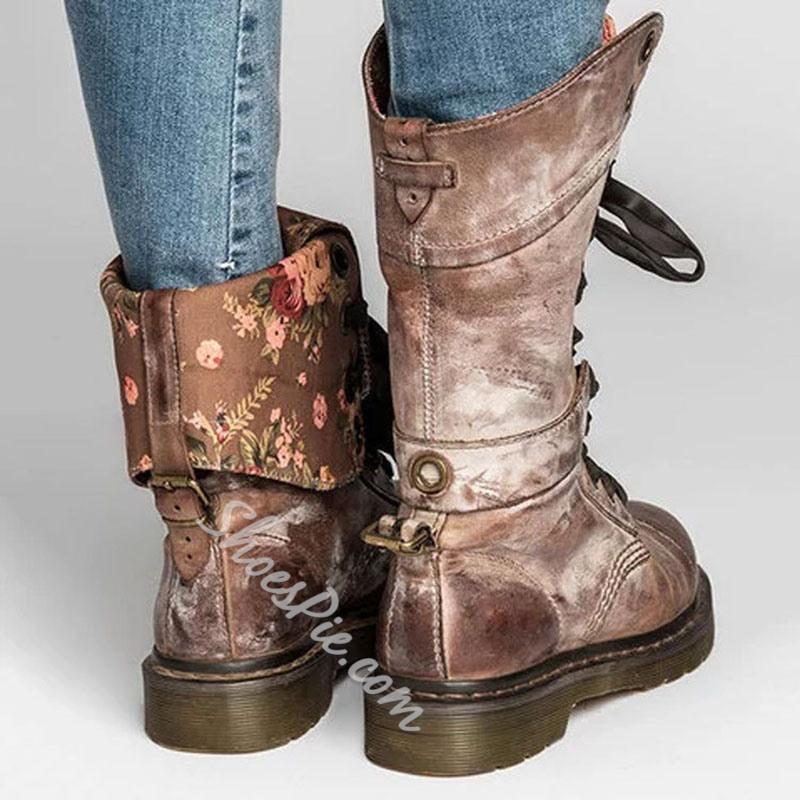 Shoespie Stylish Lace-Up Front Plain Round Toe Buckle Boots