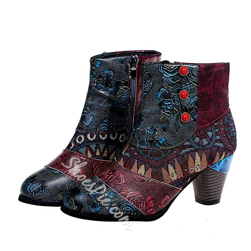 Shoespie Stylish Round Toe Side Zipper Floral Banquet Boots