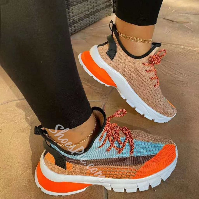 Shoespie Stylish Round Toe Lace-Up Lace-Up Color Block Sneakers