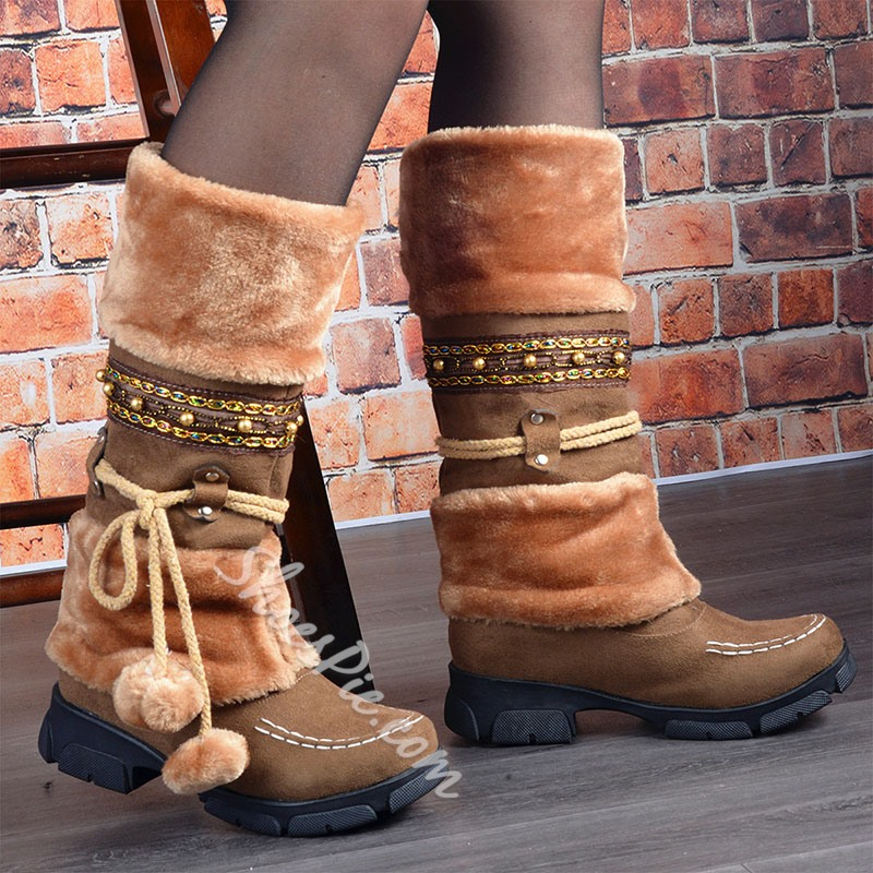 Shoespie Sexy Patchwork Slip-On Round Toe Western Boots