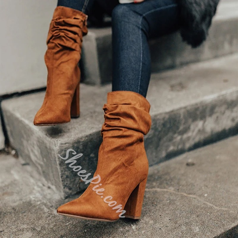 Shoespie Sexy Side Zipper Plain Pointed Toe Zipper Boots