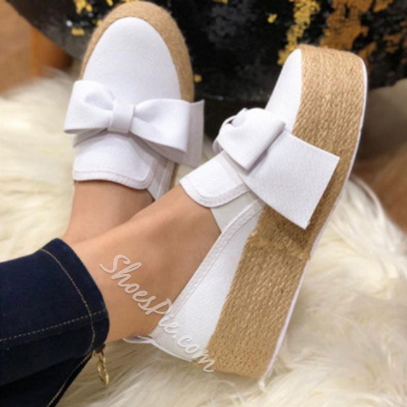 Shoespie Sexy Round Toe Slip-On Bow Casual Thin Shoes