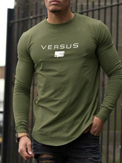 Letter Casual Round Neck Slim Pullover T-shirt