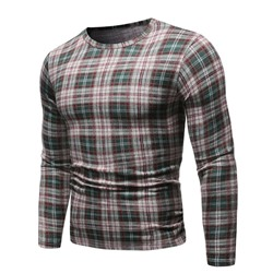 Casual Round Neck Plaid Long Sleeve Pullover T-shirt
