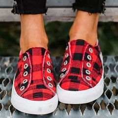 Shoespie Sexy Round Toe Thread Low-Cut Upper Plaid Sneakers