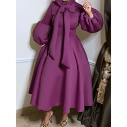 Bowknot Mid-Calf Long Sleeve Dress Women's Dress
