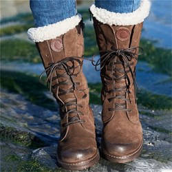 Shoespie Trendy Lace-Up Front Round Toe Block Heel Thread Boots