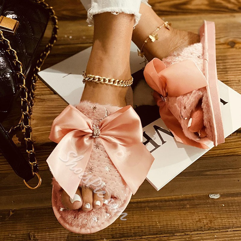 Shoespie Sexy Flat With Slip-On Bow Plain Slippers