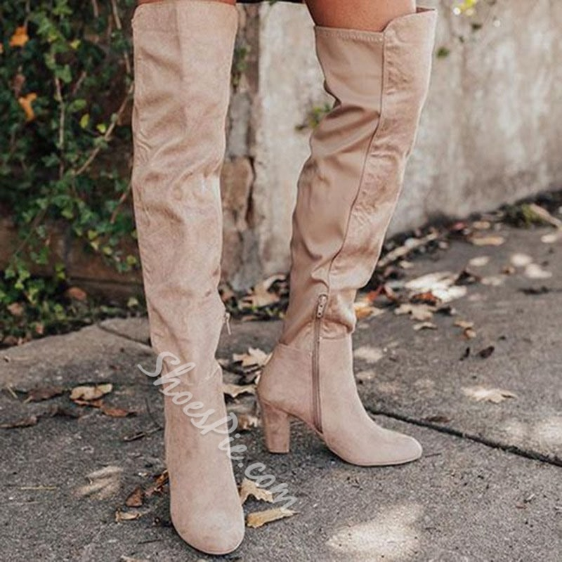Shoespie Sexy Round Toe Plain Chunky Heel Vintage Boots