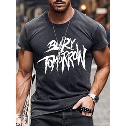 European Print Round Neck Pullover Short Sleeve T-shirt