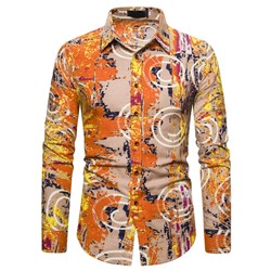 Print Casual Lapel Single-Breasted Spring Shirt