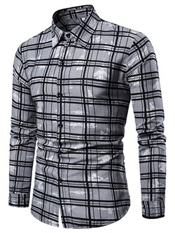 Casual Plaid Print Slim Single-Breasted Shirt