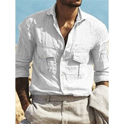 Lapel Pocket Casual Fall Loose Shirt
