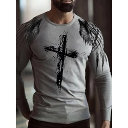 Round Neck Casual Print Slim Long Sleeve T-shirt