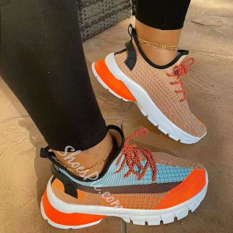 Shoespie Stylish Lace-Up Round Toe Color Block Sneakers