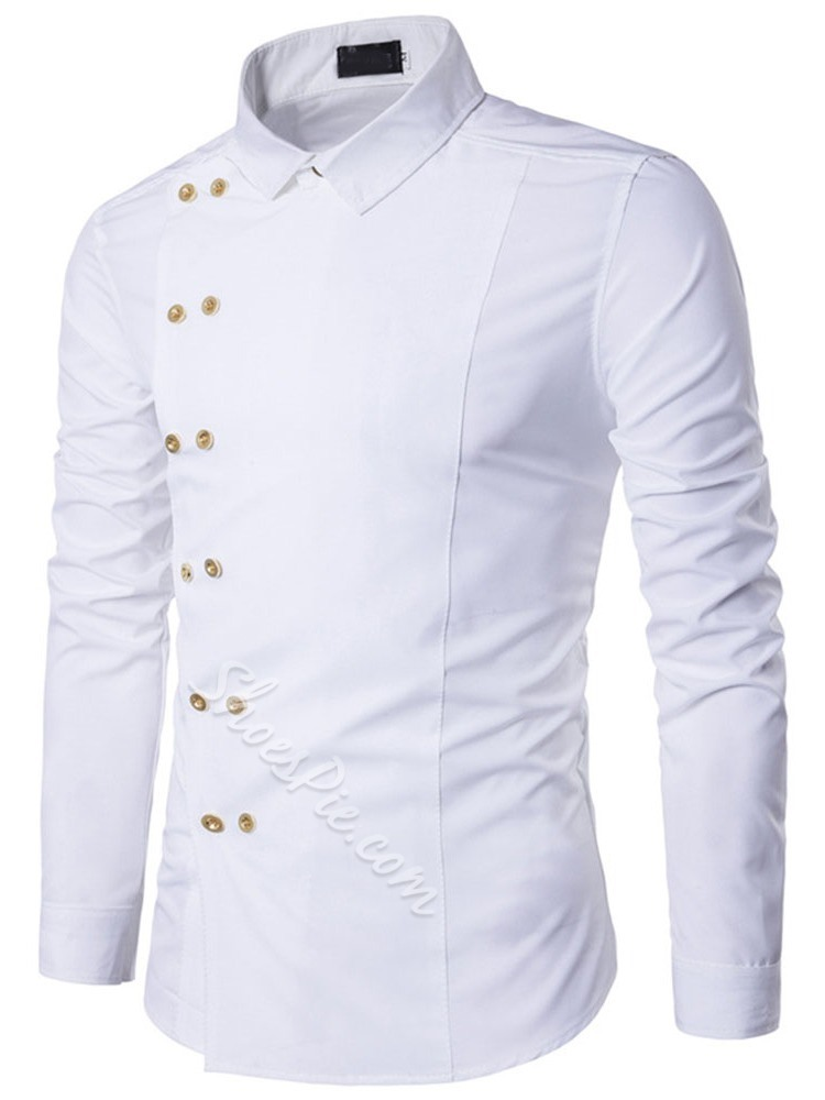 Button Plain Lapel Double-Breasted Spring Shirt