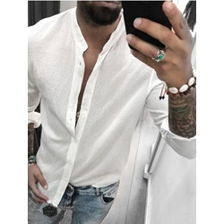 Simple Plain Button Spring Slim Shirt