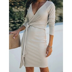 V-Neck Above Knee Lace-Up Pullover Women's Dress